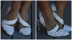 1327 Snow White Leather Fringe Heel Shoes Size Us10