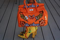 1330 Large Orange Handbag Tiger Butterfly Applique