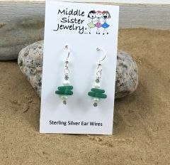 Green Stacked Beach Glass Earrings - CEGS1