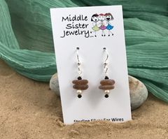 Brown Stacked Beach Glass Earrings (more options) - CEGS2