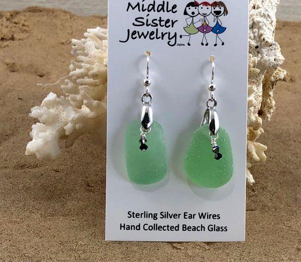 Seafoam Drop Beach Glass Earrings - CEGD6