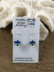 Multicolored Beach Glass Earrings - CEGS5