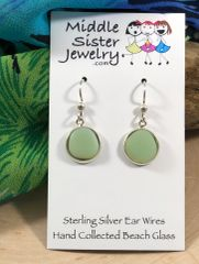 Milk Glass Drop Beach Glass Earrings (more options) - CEGD9