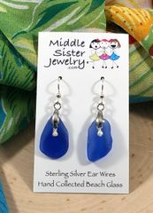 Cobalt Drop Beach Glass Earrings - CEGD5