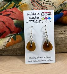 Amber Drop Beach Glass Earrings - CEGD3