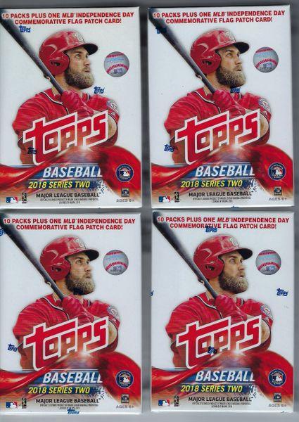 4 2018 Topps Baseball Series 2 Mlb Cards 10pk1 Relic Retail Blaster Box Lot