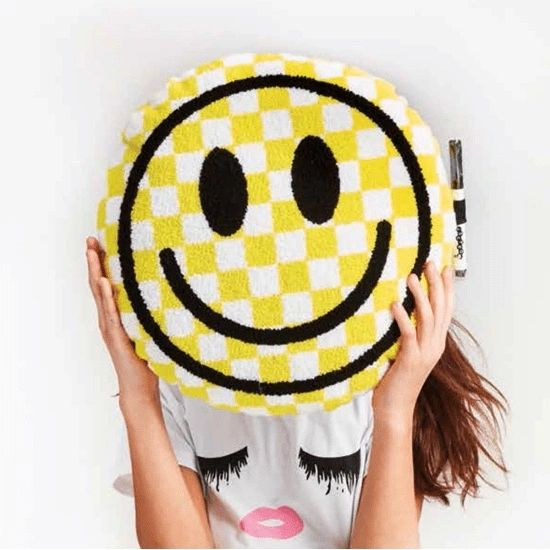 Checkered Smiley Face Autograph Pillow