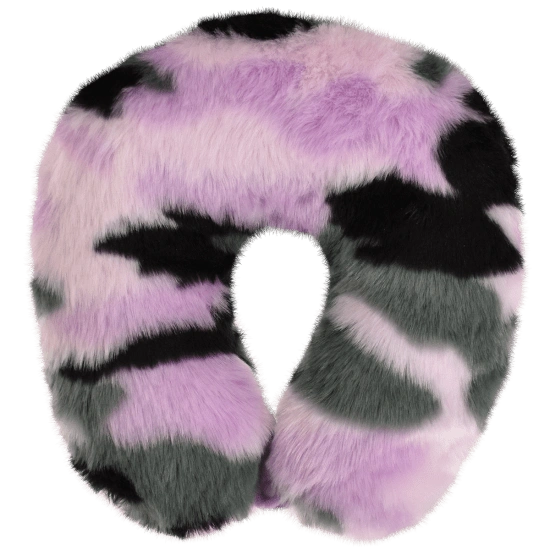 Purple Camo Furry Neck Pillow