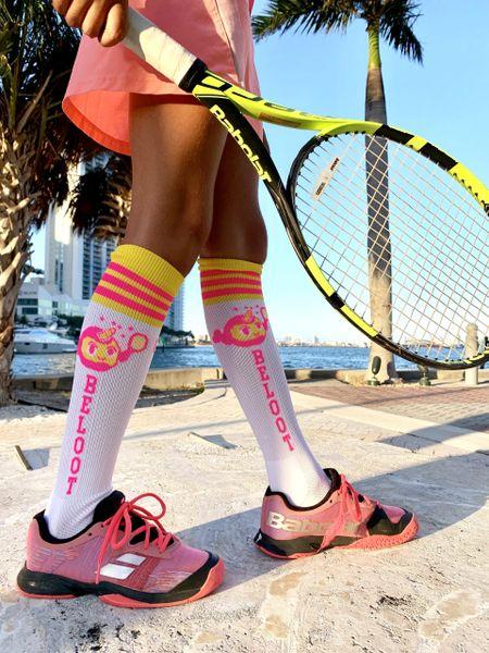 White & Neon Pink Knee Socks - Beloot by Emma