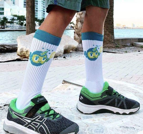 White & Teal Blue Crew Socks - Beloot by Emma
