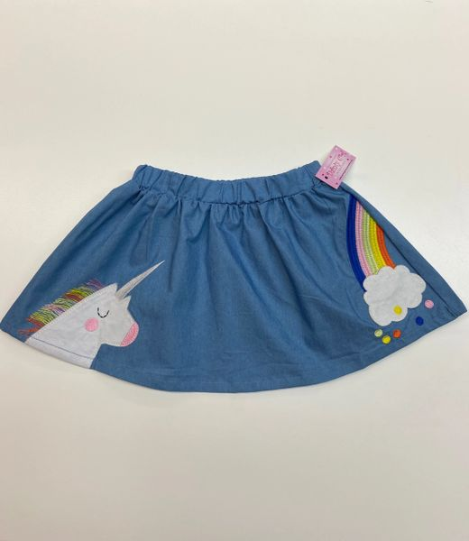 Unicorn & Rainbow Embroidered Chambray Skirt