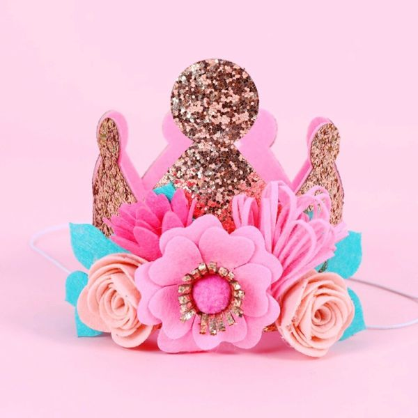 Glitter Floral Birthday Crown