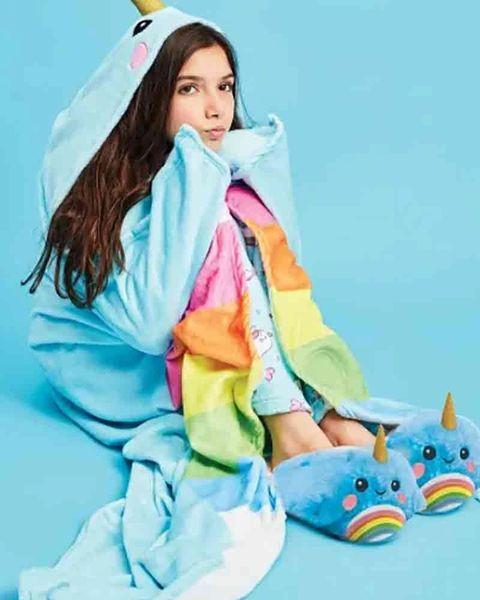 Rainbow Narwhal Hooded Blanket