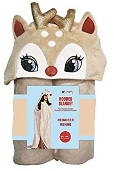 Reindeer Hooded Plush Blanket