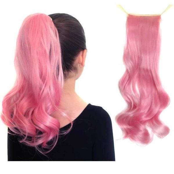 Cotton Candy Pink Curly Ponytail Hair Extensions - Magic Manes