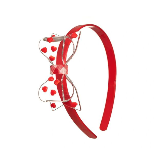 Clear Bow with Red Hearts - Lilies & Roses NY