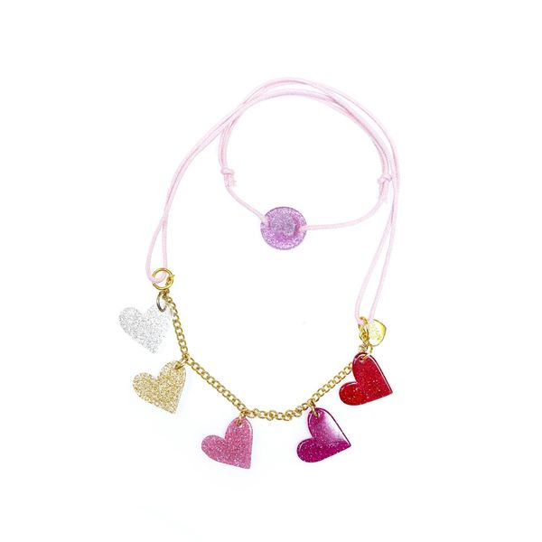 Multi Hearts Glitter Necklace - Lilies & Roses NY