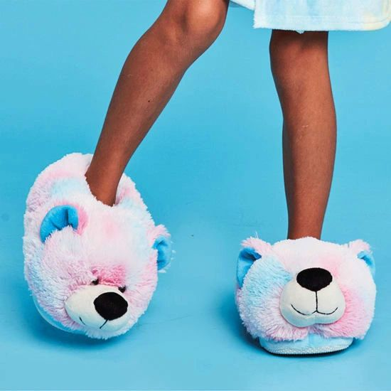 Pink and Blue Tie Dye Bear Slippers