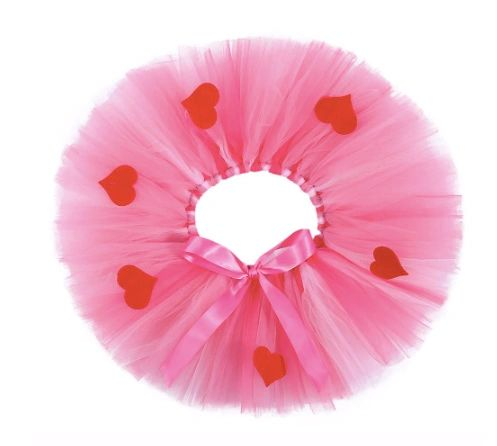 Pink Tulle HEARTS Tutu Skirt