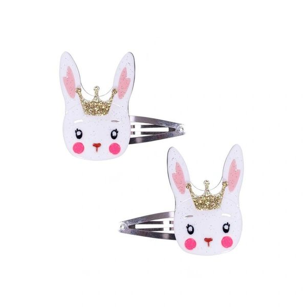 Cute White Bunny w/Crown Snap Clips - Lilies & Roses NY
