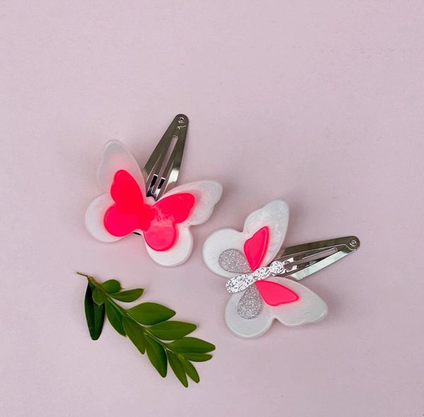 Double Butterfly Snap Clips - Lilies & Roses NY
