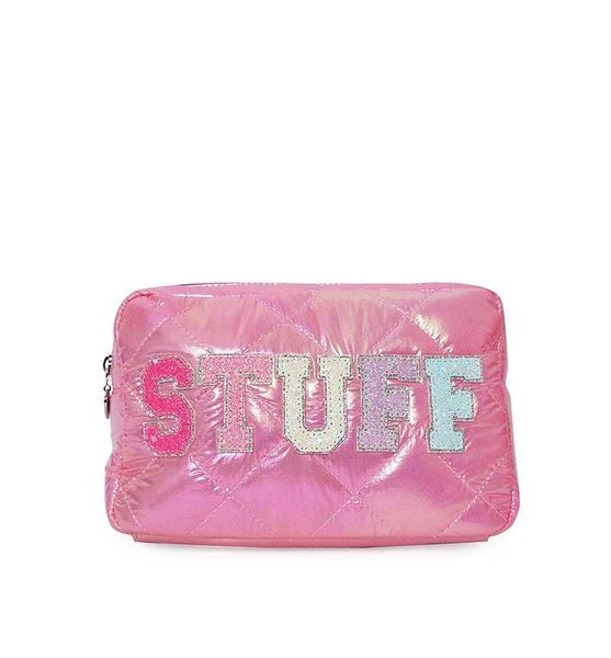 'STUFF' PUFFY QUILTED PINK COSMETIC POUCH - OMG Accessories