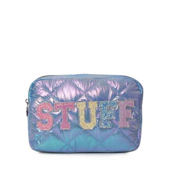 'STUFF' PUFFY QUILTED BLUE COSMETIC POUCH - OMG Accessories