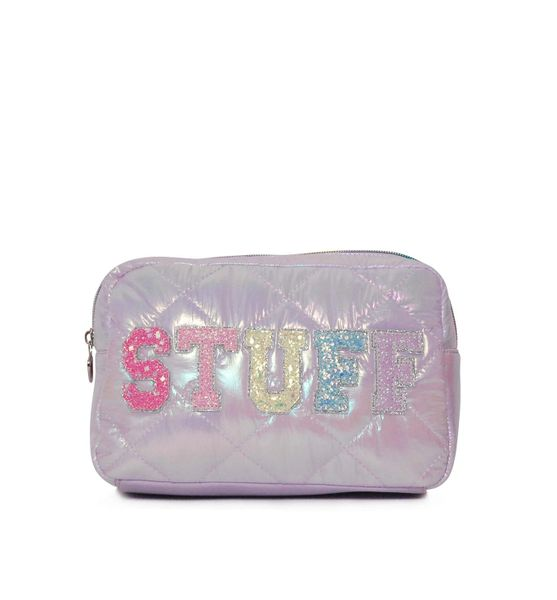 'STUFF' PUFFY QUILTED LAVENDER COSMETIC POUCH - OMG Accessories