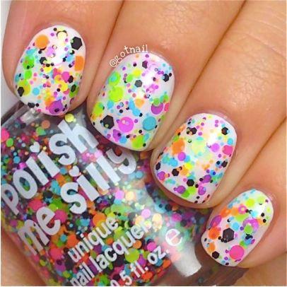 Trouble Maker- Polka Dot-NEON- Indie Glitter Nail Polish