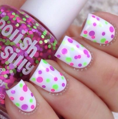 Sassy- Polka Dot-NEON Glitter Nail Polish
