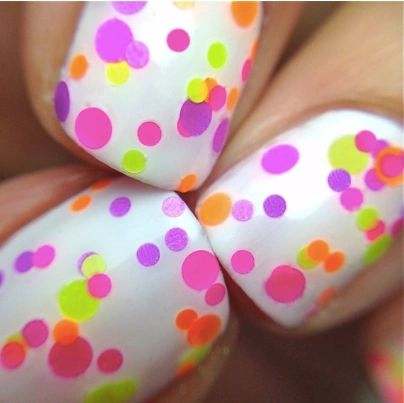 Pucker Up- Polka Dot-NEON- Indie Glitter Nail Polish