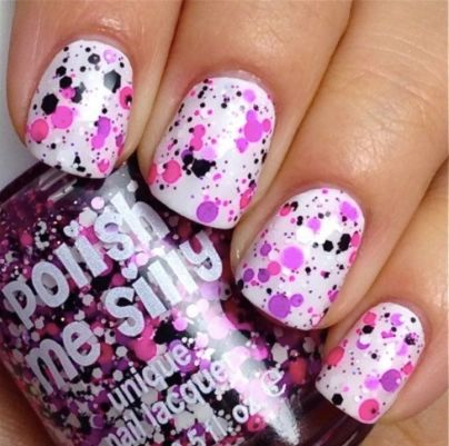 Girl Power - Polka Dot-NEON- Indie Glitter Nail Polish