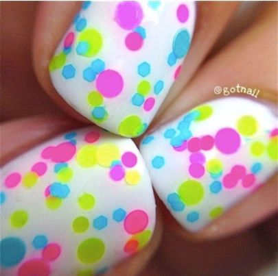 Beach Party- Polka Dot-NEON- Glitter Nail Polish