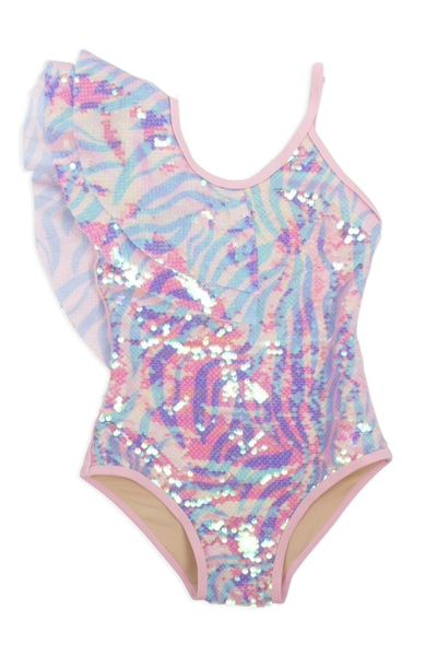 Luxe One Piece Zebra Suit w/ Sequin Overlay - Shade Critters