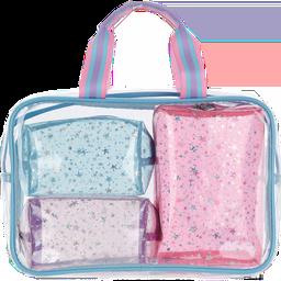 Color Block Clear Cosmetic Bag Set