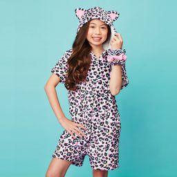 Pink Leopard Plush Romper