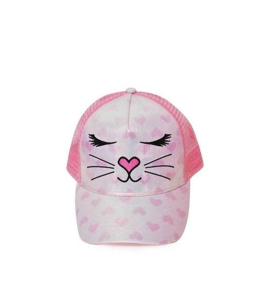 MISS BELLA HEART PRINT METALLIC BASEBALL HAT - OMG Accessories