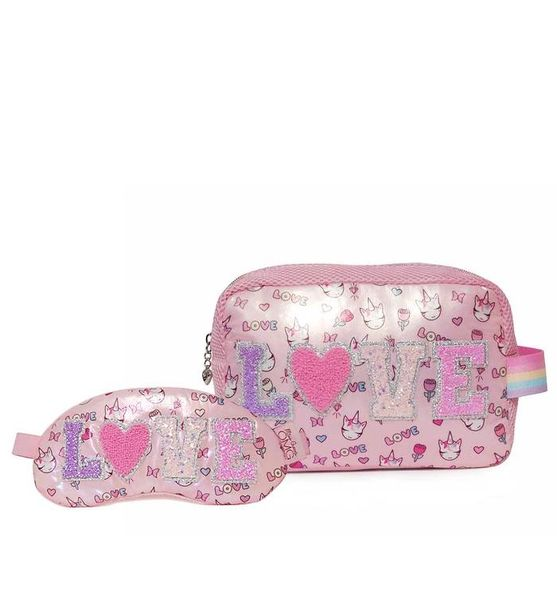 """""""LOVE"""" MISS GWEN PRINT COSMETIC POUCH & SLEEP MASK SET - OMG Accessories"""