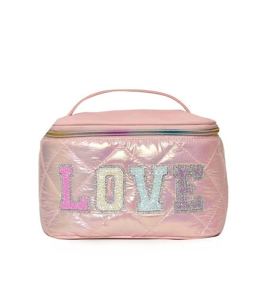 'LOVE' METALLIC QUILTED TRAIN CASE - OMG Accessories
