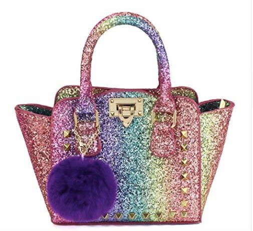 Glitter Rainbow Trapeze Bag