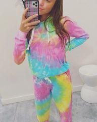 Crystal Encrusted Rainbow Tie-Dye Hooded Sweatshirt