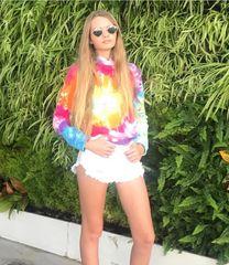 Rainbow Tie-Dye Distressed Hoodie - Katie J NYC