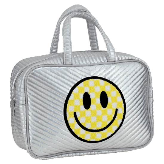 Checkered Smiley Face Chevron Large Cosmetic Bag
