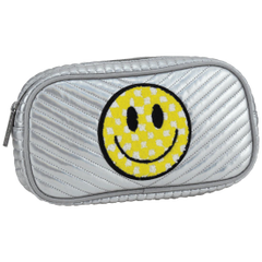 Checkered Smiley Face Chevron Small Cosmetic Bag