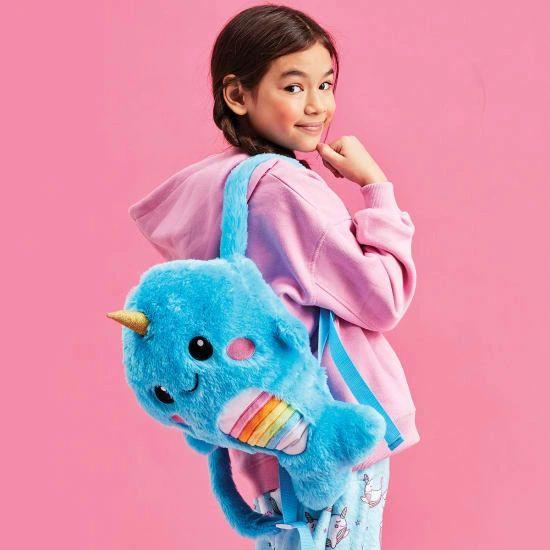 Rainbow Narwhal Furry Backpack