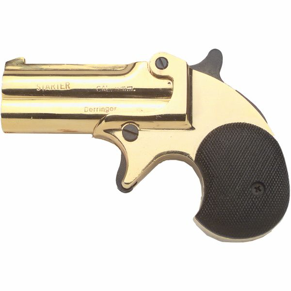 Old West Replica .22 Caliber Blank Firing Gold Double Barrel Derringer