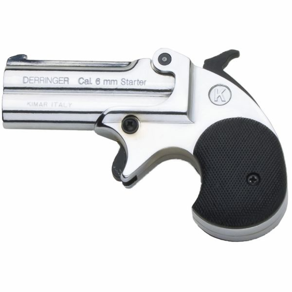 Old West Replica Nickel .22 Caliber Blank Firing Double Barrel Derringer