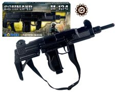 Case of 12 Gonher Replica Israeli Uzi Style 12 Caps Submachine Gun - Black Finish with Sling