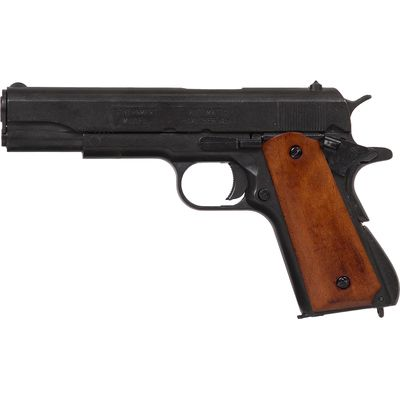 Replica M1911A1 Black Finish Light Wood Grips Field Strippable Automatic Pistol Non-Firing Gun
