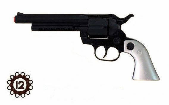 Gonher Cowboy Cavalry PALADIN Style 12-shot Cap Gun Revolver - Black & Faux Pearl Grips